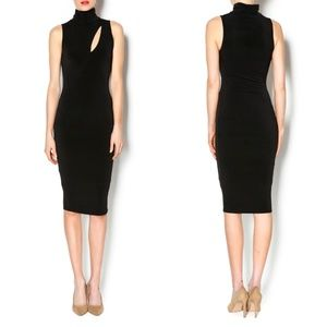 Black Bead Black Slit Front Midi Bodycon Dress